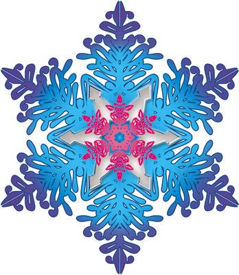 Открытка Снежинка (с кристаллами фуше)