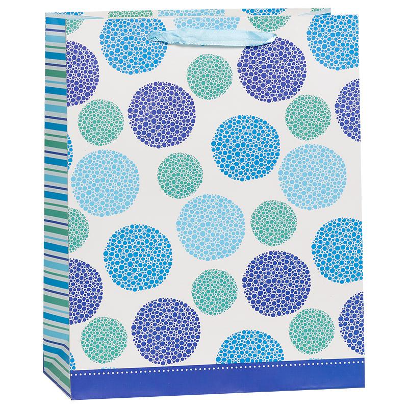 Пакет подарочный Пузыри, Голубой, 26*32*12 см