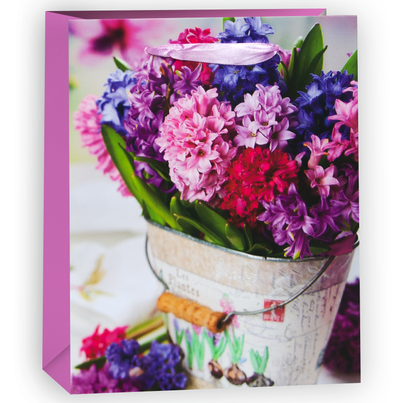 Пакет подарочный Гиацинты, Розовый, 18*23*10 см