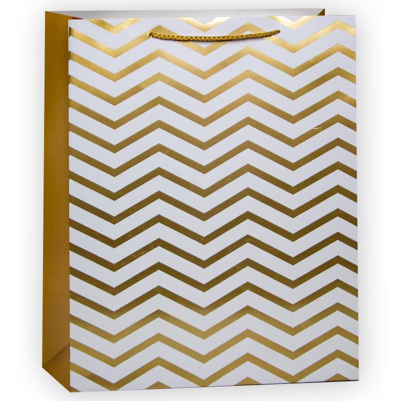 Пакет подарочный Золотой (зигзаги), Золото, 18*23*10 см