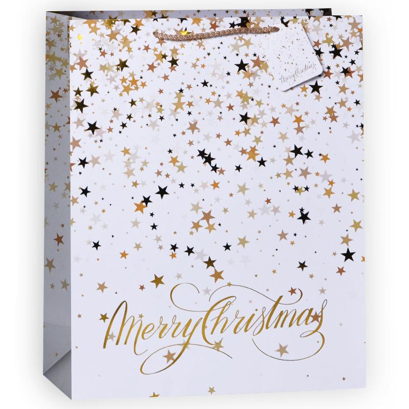 Пакет подарочный Счастливого Рождества! , Белый / Золотой, 18*23*10 см