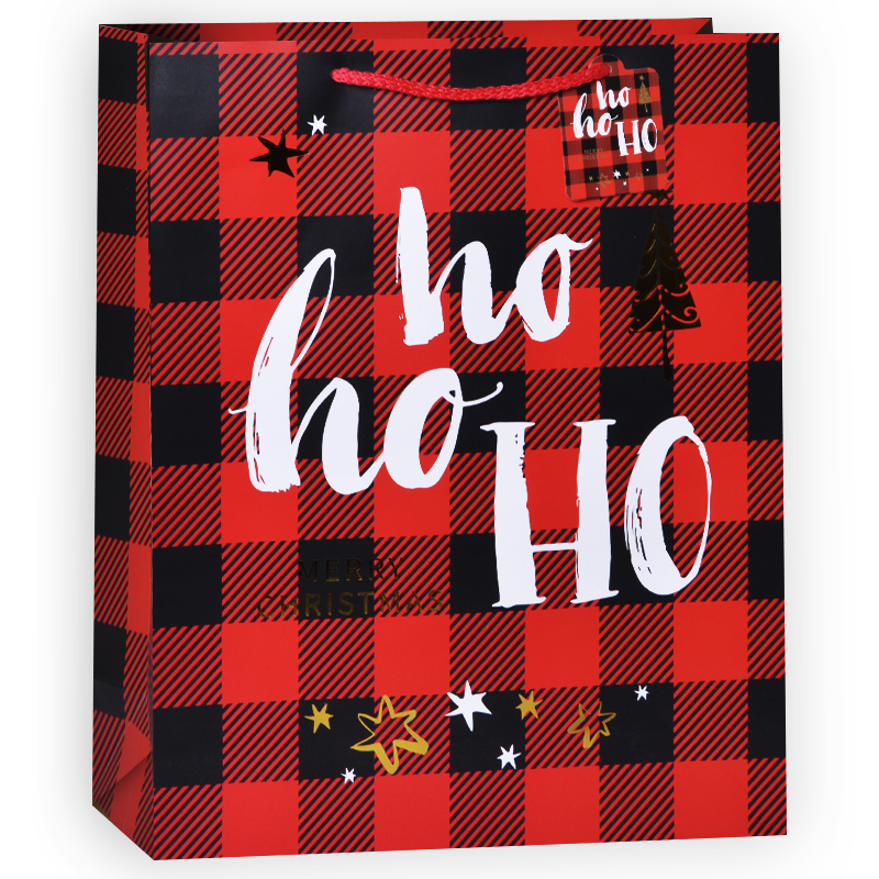 Пакет подарочный В клетку (хо-хо-хо), Красный, 31*42*12 см