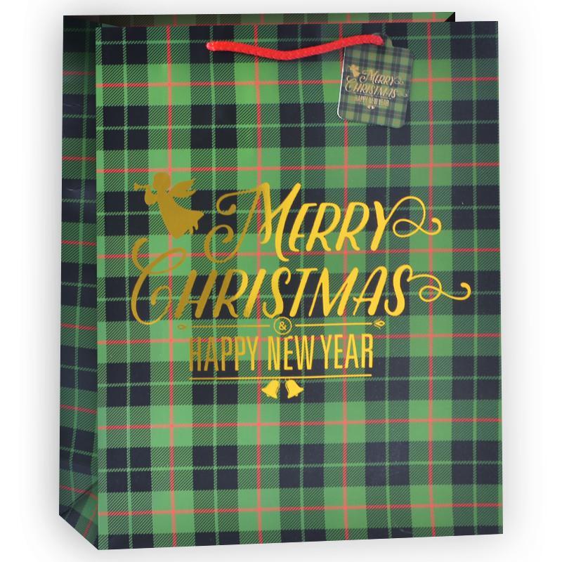Пакет подарочный В клетку (Счастливого Рождества!), Зеленый, 31*42*12 см