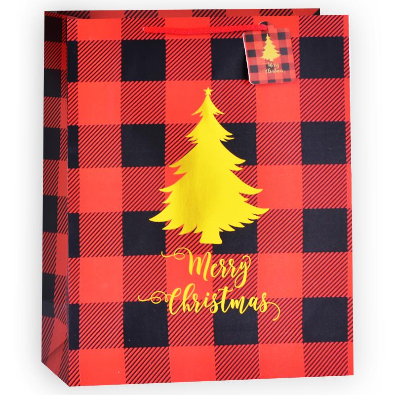 Пакет подарочный В клетку (елочка), Красный, 31*42*12 см