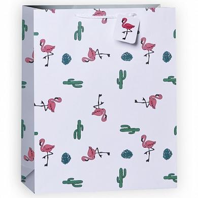 Пакет подарочный Фламинго и кактусы, 26*32*13 см