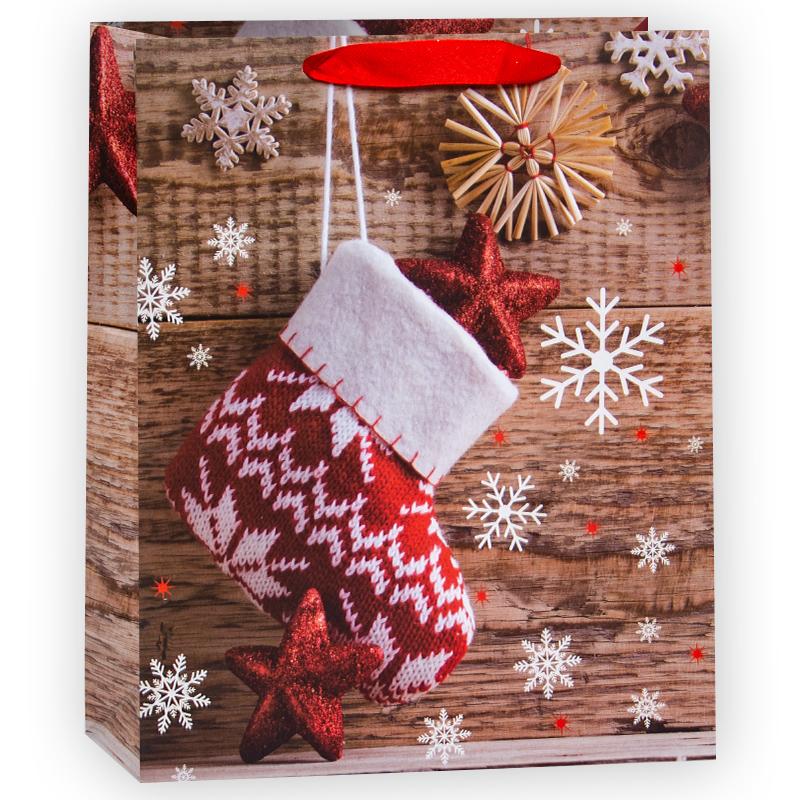 Пакет подарочный Новогодний носок, 26*32*12 см