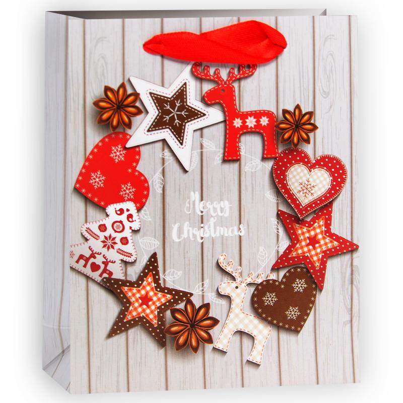 Пакет подарочный Новогодний венок, 11*13,5*5 см