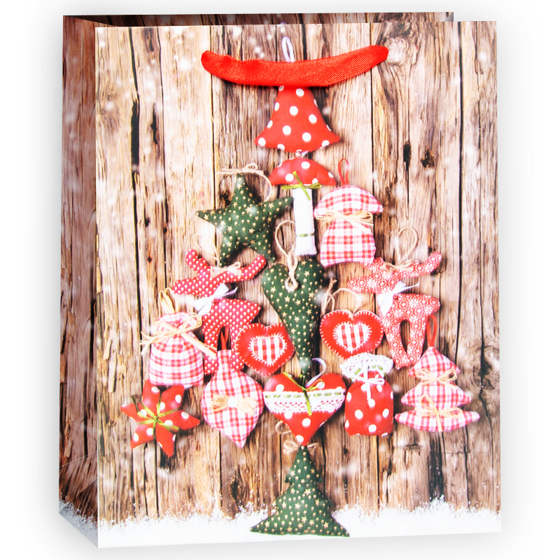 Пакет подарочный Елка из мягких игрушек, 11*13,5*5 см