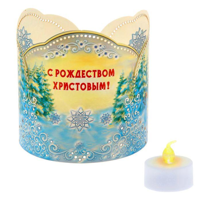 Подсвечник «Ангелок с кроликом» со светодиодной свечой