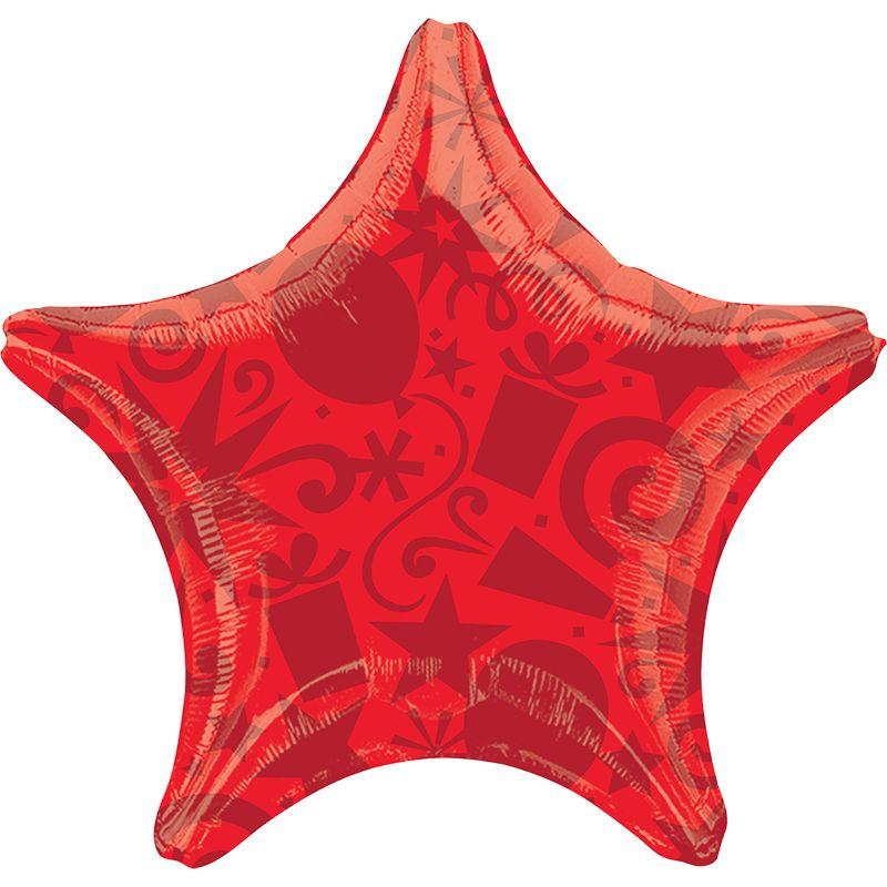 А 22 Звезда Шары и Подарки Красная / Festive Red Star S30 / 1 шт, 55см