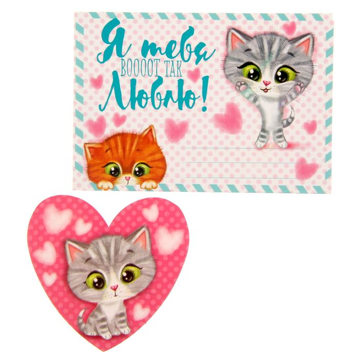 Подарочный конверт с открыткой «Котятки», 10 × 7 см