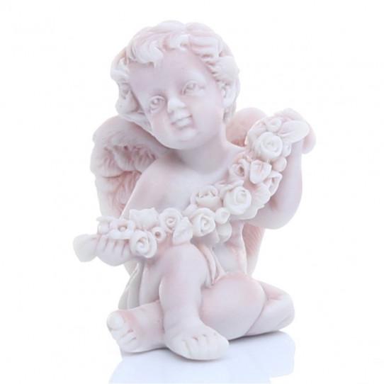 Ангелочек сидящий с венком 5,5см