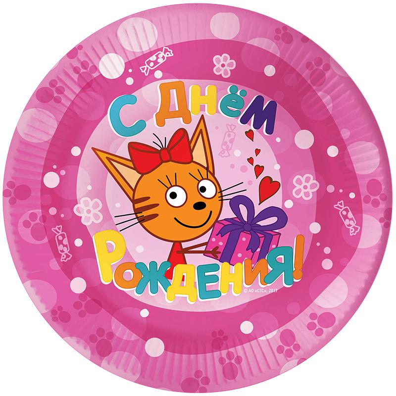 Тарелки Три Кота, Розовый, 7 дюймов, 6 шт