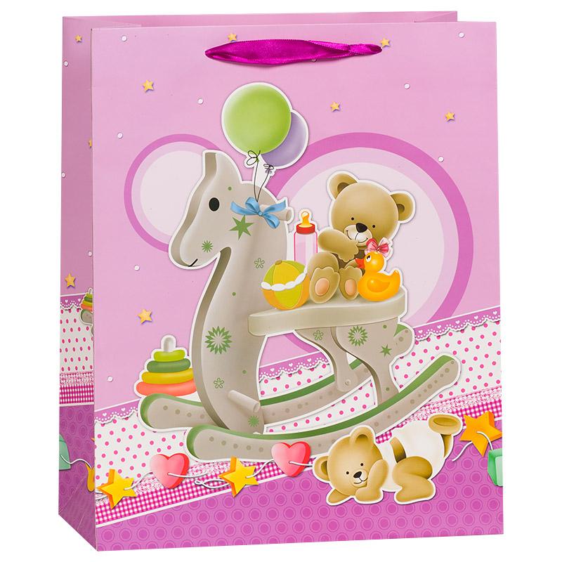 Пакет подарочный Лошадка качалка, Пурпурный, 31*42*12 см