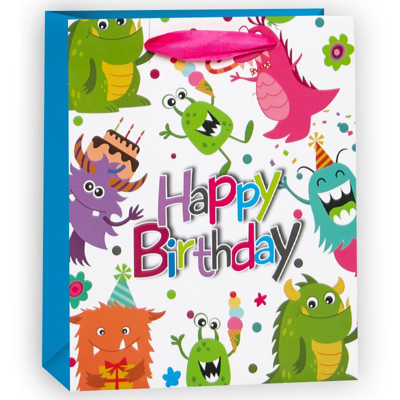 Пакет подарочный С Днем Рождения (милые монстрики), Голубой, 18*23*10 см