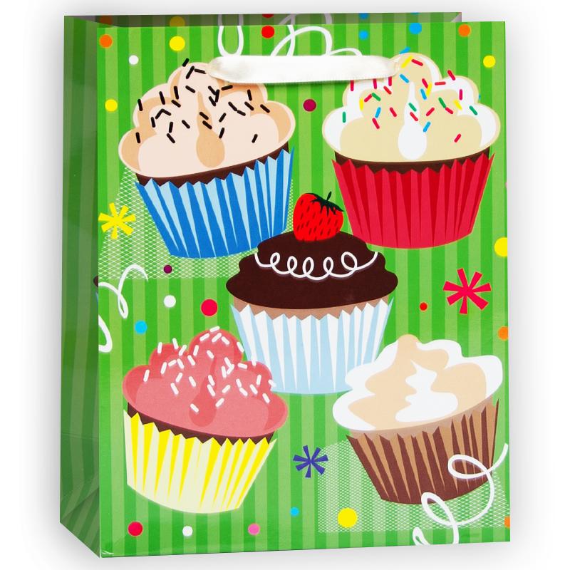 Пакет подарочный Кексы, Зеленый, 18*23*10 см