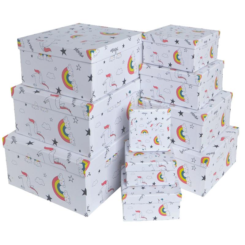 Набор коробок 10 в 1, Единорог в облачках, Белый, 14*14*7см