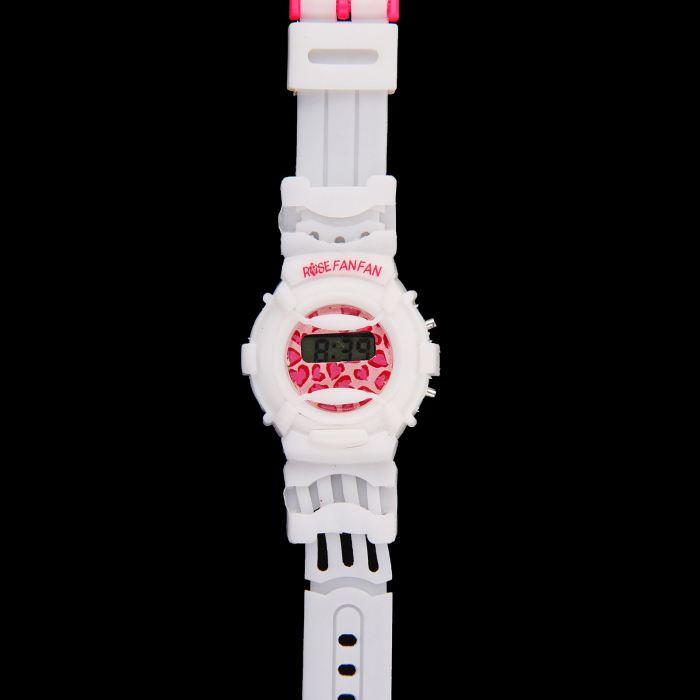 Часы наручные дет.электронные, с силик/ремешком розовая застежка, на циферблате середечки