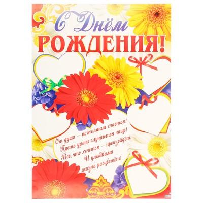 Плакат С Днём Рождения! герберы, А2
