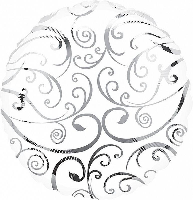 Круг Белый Филигрань / Silver Swirls S30, 46 см