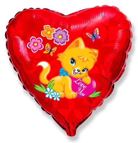 Сердце Влюбленный котенок, 45см