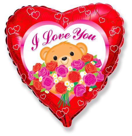 Сердце Мишка с розами, 45см