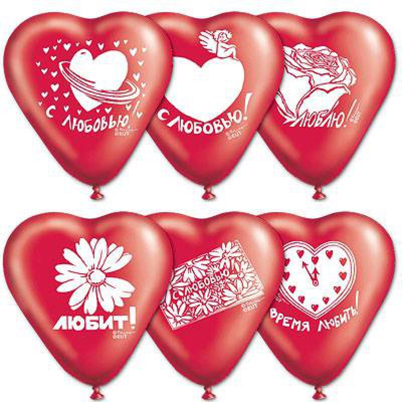 Геливые сердца 40 см