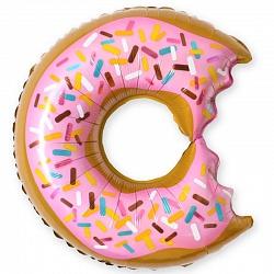Шар (26/66 см) Фигура, Пончик (надкусанный), Розовый