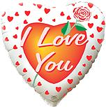Сердце Я тебя люблю Роза, 45см