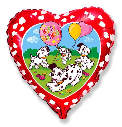 Сердце Далматинцы (красный) С Днем Рождения, 45см