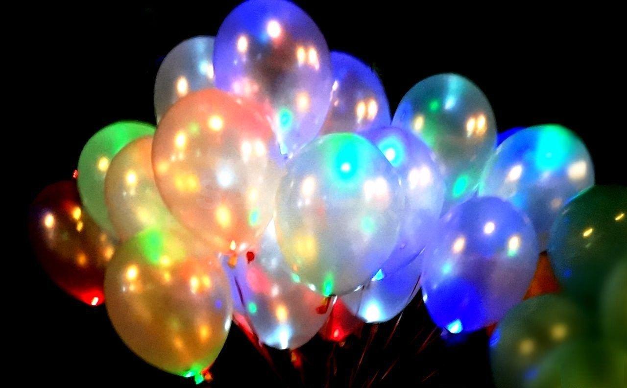 Гелиевые шары со светодиодами Мульти (светятся в темноте)