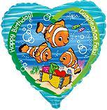 Сердце День рождения рыбки - клоуна, 45см