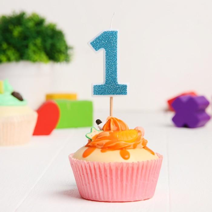 Свеча в торт цифра Дисней 1, Микки Маус , блестки голубые