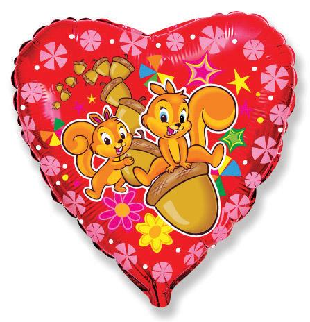Сердце Весёлые белки, 45см