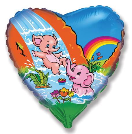 Сердце Весёлые слонята, 45см
