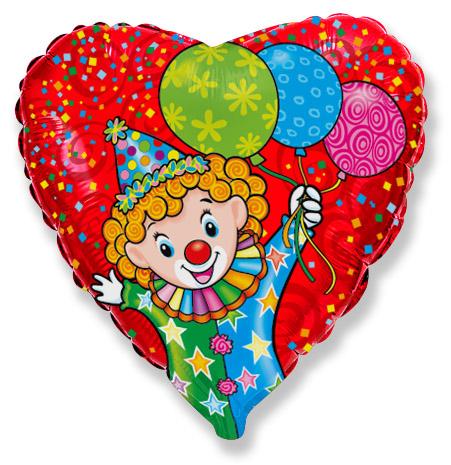 Сердце Весёлый клоун, 45см