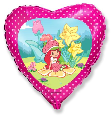 Сердце Девочка-клубничка в саду, 45см