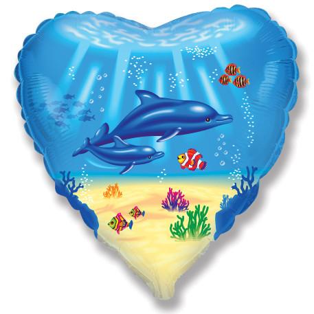 Сердце Дельфинья семья, 45см