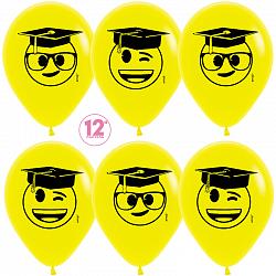 Воздушный шар Выпускник, Эмоджи, Желтый (020), пастель, 5 ст, 50 шт. 30 см