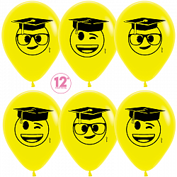 Воздушный шар Выпускник, Эмоджи, Желтый (020), пастель, 5 ст, 30см
