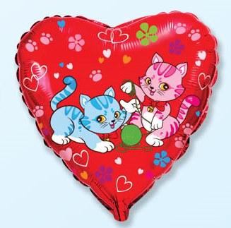 Сердце Милые котята, 45см