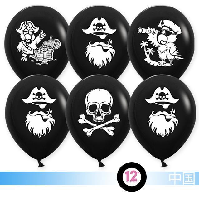 Воздушный шар  Пираты, Черный, пастель, 2 ст, 30см .