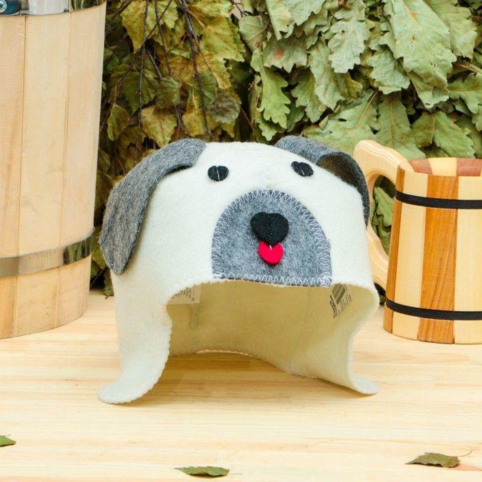Банная шапка детская «Собачка», белая, войлок, эконом