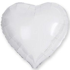 Шар Сердце, Белый , 91 см [