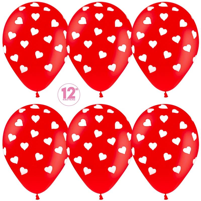 Воздушный шар Сердца, Красный (015), пастель, 5 ст, 50 шт. 30 см