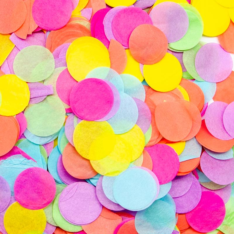 Конфетти тишью, Круги, Разноцветный, 2,5 см, 50 гр