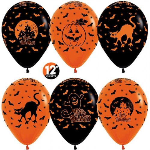 Шар  Хэллоуин, Оранжевый (061)/Черный (080), пастель, 5 ст, 50 шт. 30 см