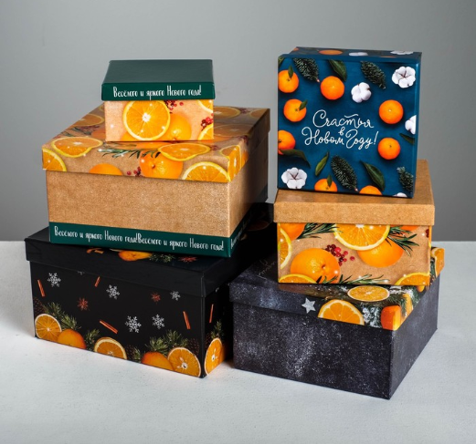Подарочная коробка из набора 6 в 1 «Мандариновый», 12,8 × 12 × 7 см