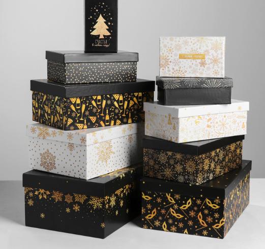 Подарочная коробка из набора 10 в 1 «Золотой», №3 - 16 см
