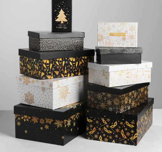 Подарочная коробка из набора 10 в 1 «Золотой», №10 - 33 см